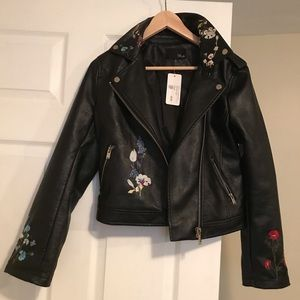 Vegan leather jacket with embroidered flowers